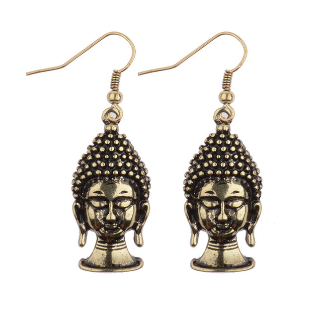 New Arrival 2017 Silver Gold Buddha Dangle Earrings Women Fashion India Thailand