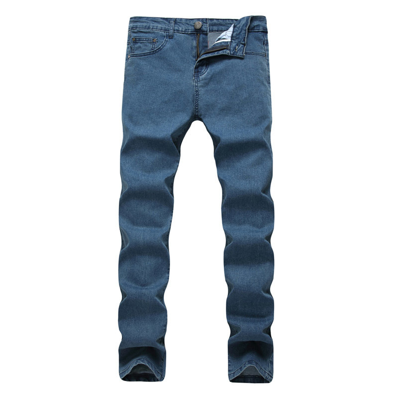 2018 Mens jeans New Fashion Men Casual Jeans Slim Straight High Elasticity Feet Jeans Loose Waist Long