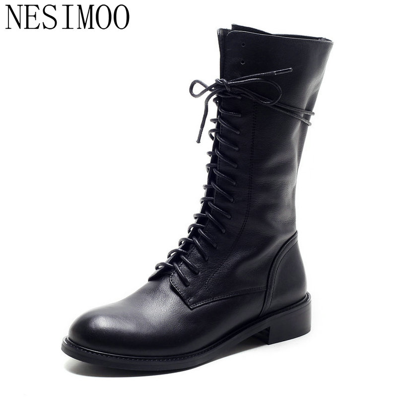 NESIMOO 2018 Genuine Leather Women Shoes 2016 Square Low Heel Mid Calf Boot Lace Up Round Toe Women Motorcycle Boots Size 34-39 lady big size 4 15 tassel nubuck leather velvet women boots round toe mid calf winter boot thick high heel boots 3colors