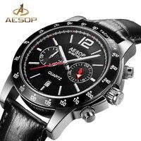 AESOP Fashion Men Watch Men Sapphire Crystal Quartz Wrist Wristwatch Leather Male Clock Relogio Masculino Hodinky