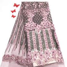 Новая африканская кружевная ткань высокого качества Фуксия кружева бисером кружева ткани шитья аппликация индийские ткани для платья Свадьбы JX01