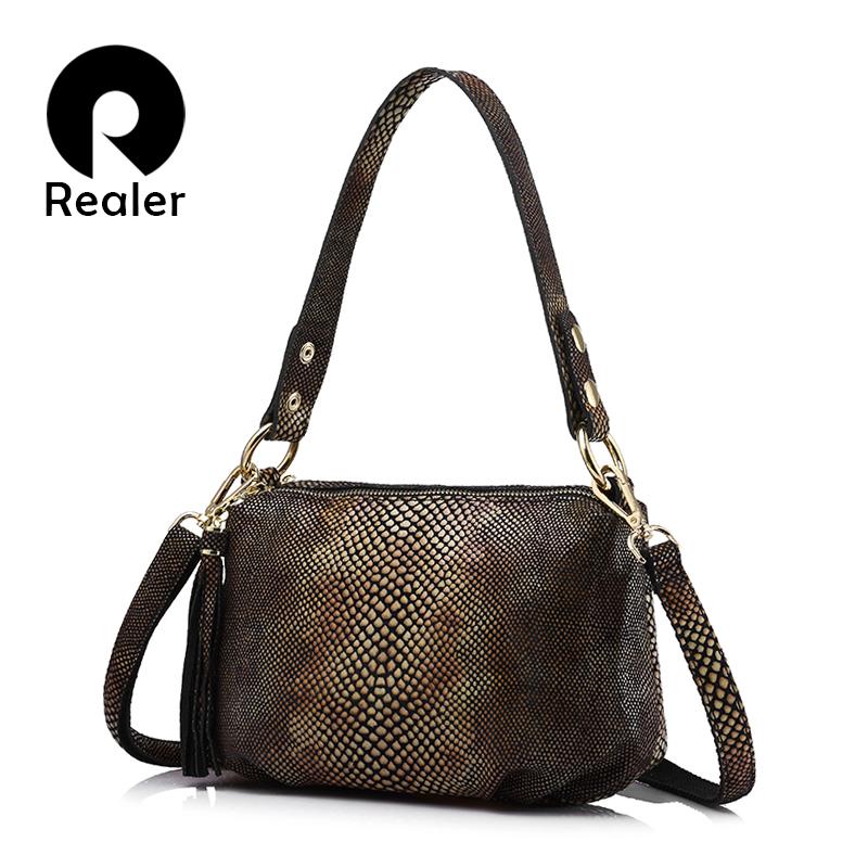 Prix pour Realer marque bandoulière sacs pour femmes en cuir véritable épaule sac femelle or python motif en cuir sac à main avec le gland
