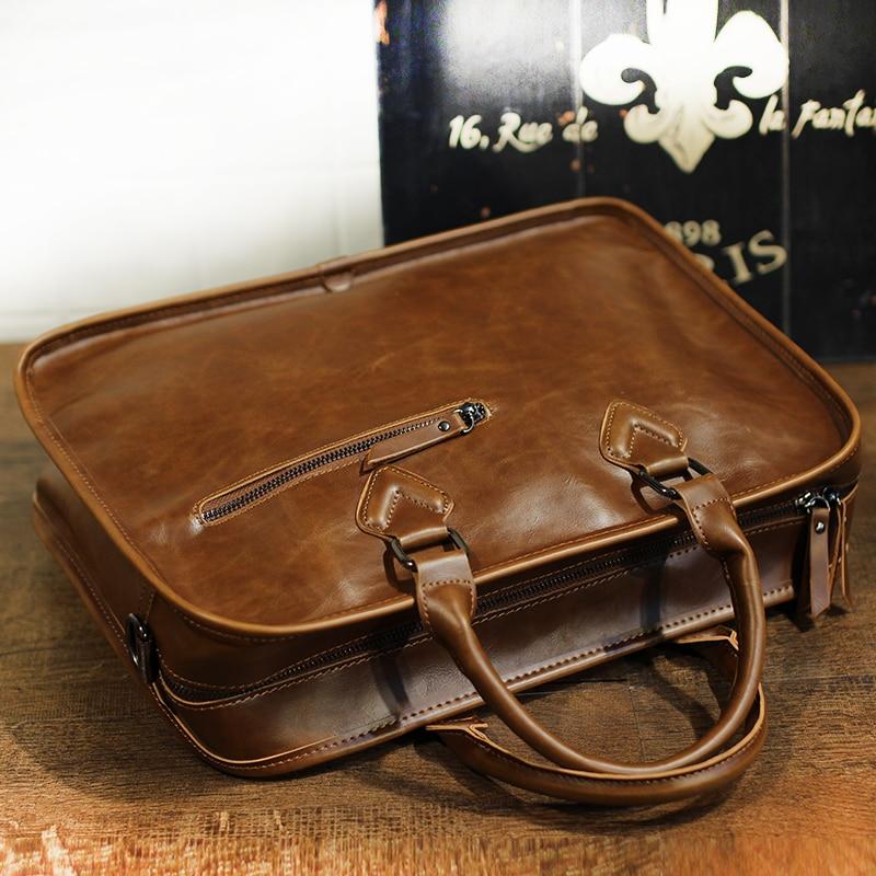 Image 3 - Brand Crazy Horse PU Leather Men Briefcase Vintage 13 inch Big  Business Laptop Handbag Fashion Brown Messenger Shoulder Bag  ManBriefcases