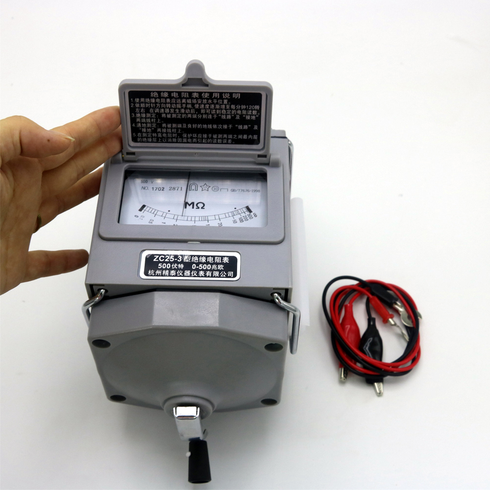 High quality ZC25-3 500v Insulation Megohm Tester Resistance Meter Megger Megohmmeter (ZC25-4 1000V)  smart sensor as907 digital insulation resistance tester megger megohm 1k 2000mohm high voltage detector meter 250v 500v 1000v