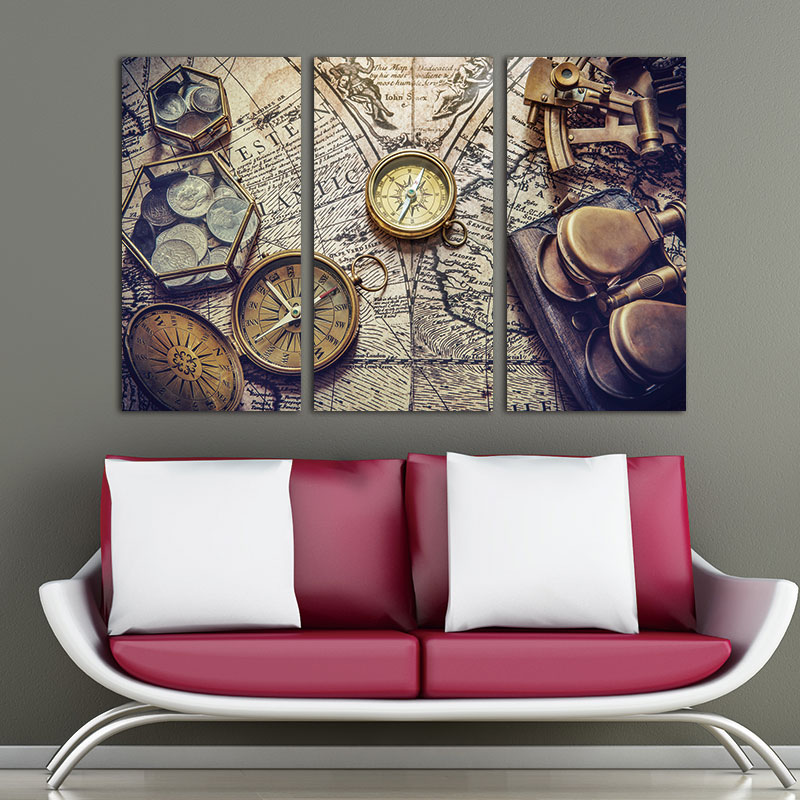 Aliexpress Com Buy Unframed 3 Panel Vintage World Map: Aliexpress.com : Buy 3 Panels Vintage World Map Canvas
