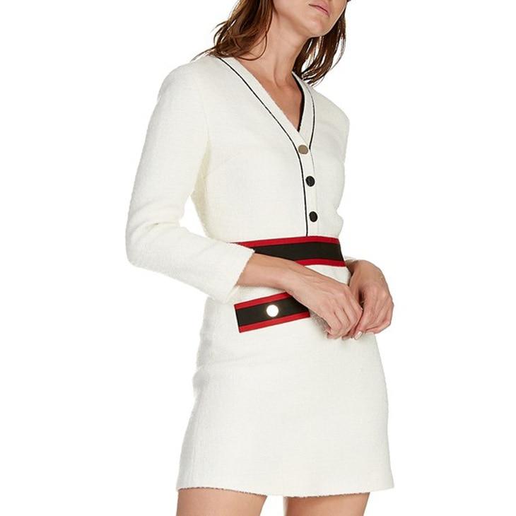 Beige Nuovo E 2019 A Delle Donne Inverno Autunno Decorativo Lunghe Maniche Vestito neckline V Abito q6Rwx