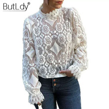 Transparent Sexy See Through Shirt Women Embroidery Lace Hollow Out Long Sleeve Summer Blouse 2019 Stand Collar Casual Shirt Top недорго, оригинальная цена