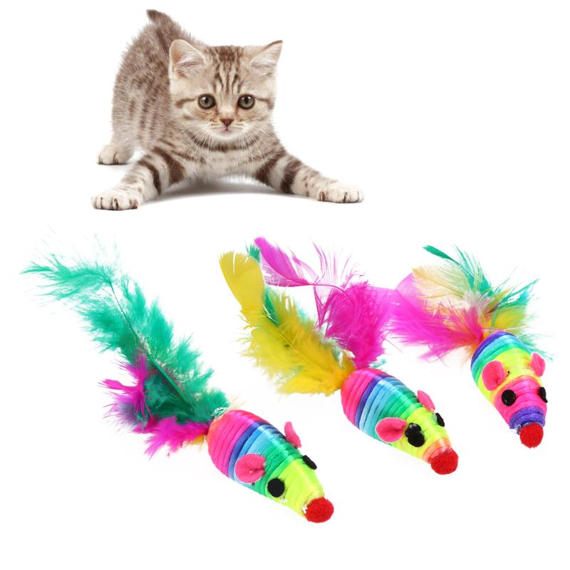 3 Pcs Creative False with Colorful Feather Mouse Pet Cat Toys Mini Playing Toys Pet Cat Kitten Feather Mouse Toys 12 x 3cm