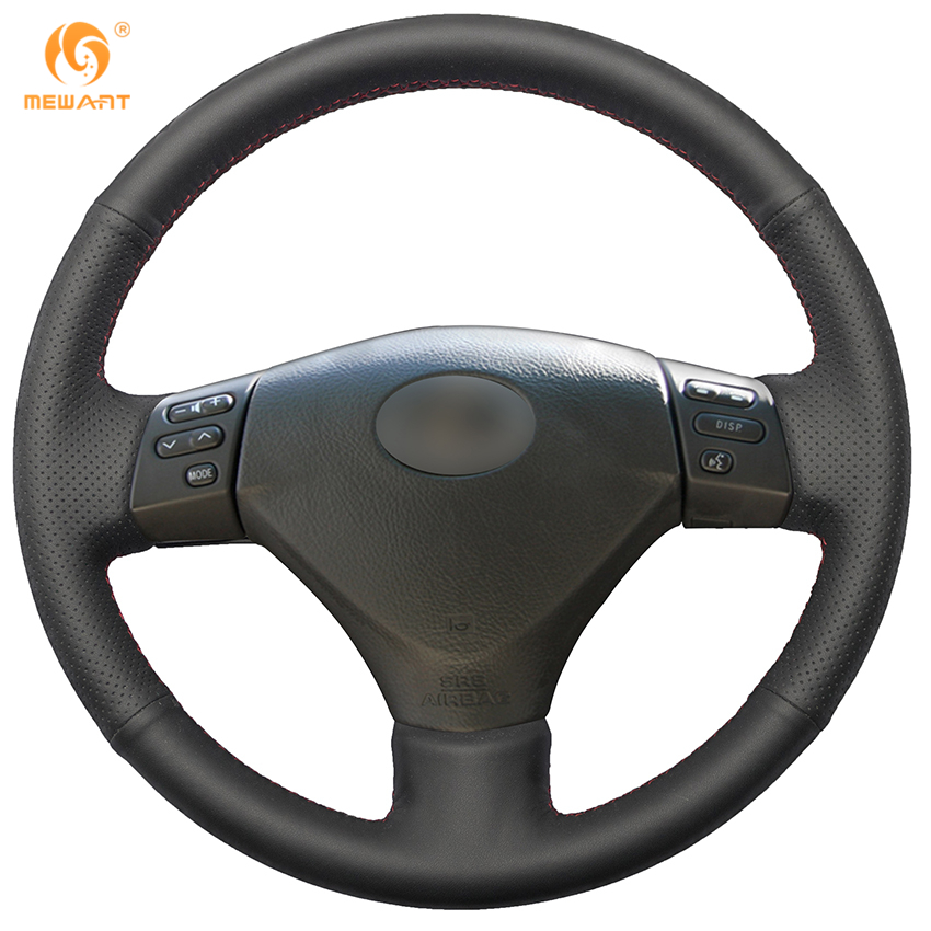Black Genuine Leather Car Steering Wheel Cover for Lexus RX330 RX400h RX400 2004-2007 Toyota Corolla Verso 2006 Camry 2004-2006 коврики в салон toyota corolla verso 03 2004 10 2009 4 шт полиуретан
