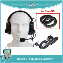 Z TAC Airsoftsports Element Hoofdtelefoon Comtac III Ruisonderdrukking Headset Met PTT Kenwod Tactische Headset Voor Schieten Z051 + Z113