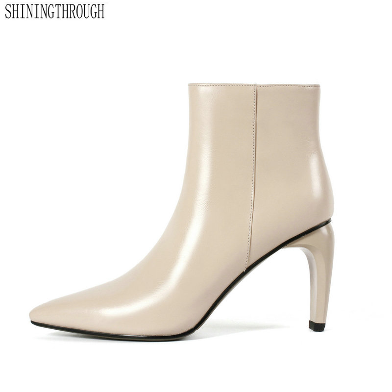 цена на 2019 New genuine leather boots women pointed toe warm autumn winter ankle boots sexy high heels shoes woman