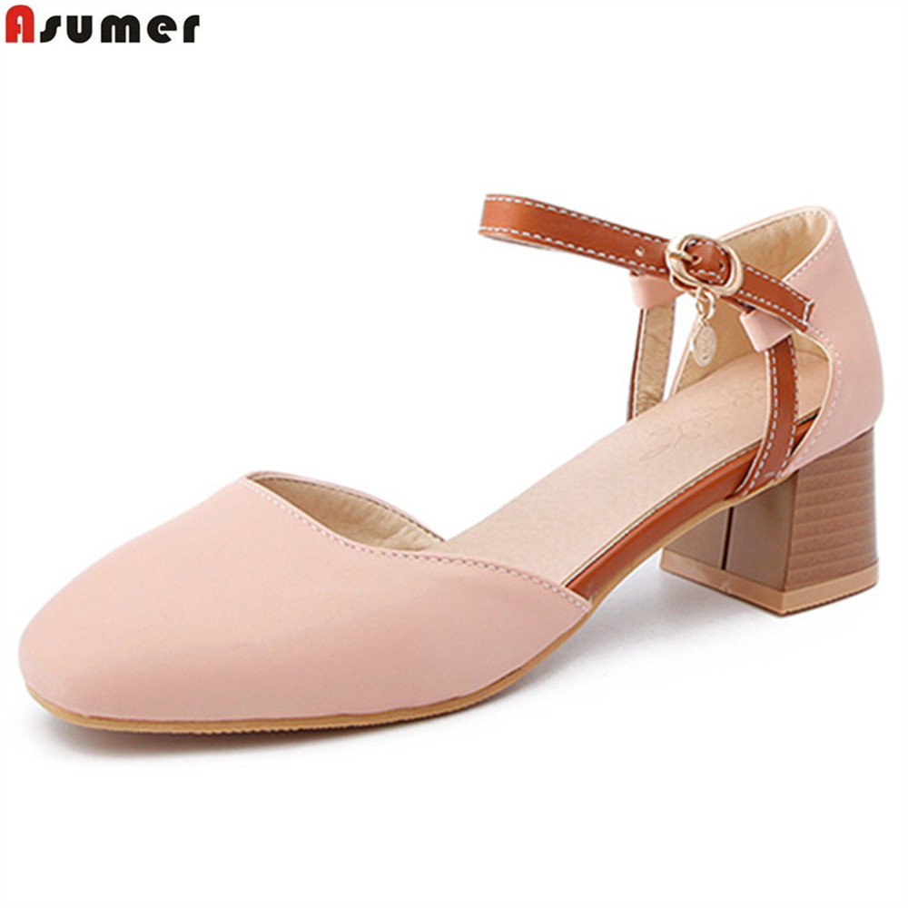 ASUMER pink blue beige square toe buckle spring autumn shoes woman casual med heels shoes plus size 33-46 square heel asumer beige pink fashion spring autumn shoes woman square toe casual single shoes square heel women high heels shoes