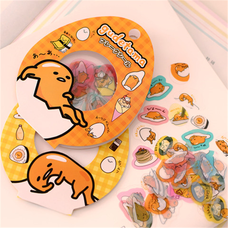 60Pcs/1Bag Cartoon Sanrio Gudetama Lazy Egg Sealing Pvc Stickers Diary Label Stickers Pack Decorative Scrapbooking Diy Sticker