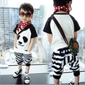 boys cotton summer set casual sport suit fashion cute Panda clothing set o-neck short sleeve strip kids clothes free shipping