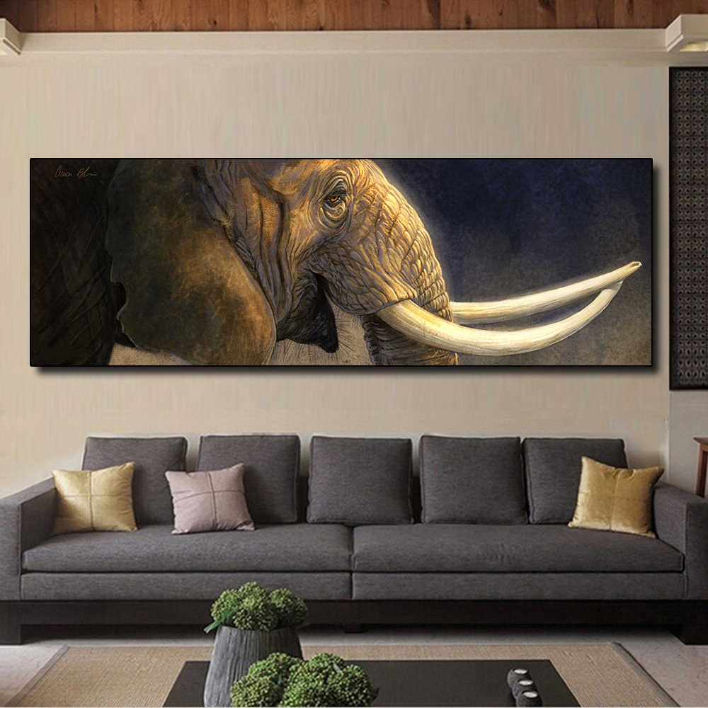 AAVV Posters and Prints Oil Painting Elephant with Long Ivory Home Decor Wall Pictures for Living Room Canvas Art No Frame