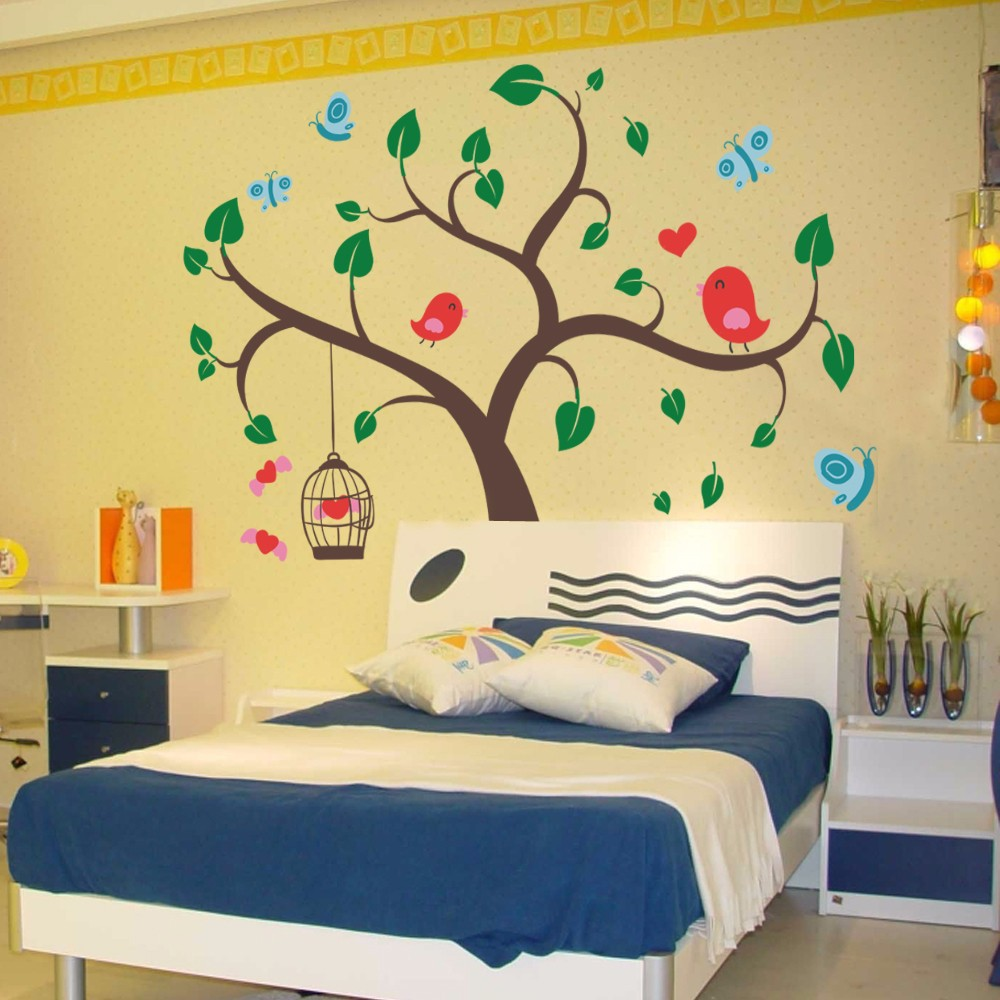 Children Wall Decals Tree Wall Decals and Butterfly Birds Wall Decal ...