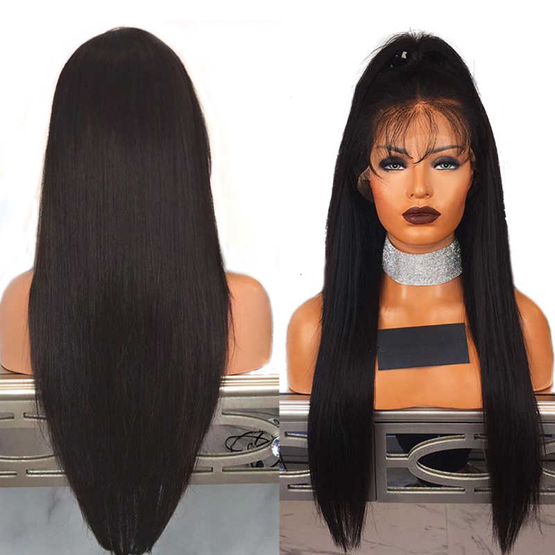 Fantasía belleza 28 pulgadas encaje frente pelucas sintéticas largo recto resistente al calor peluca Pre desplumada con línea de cabello Natural