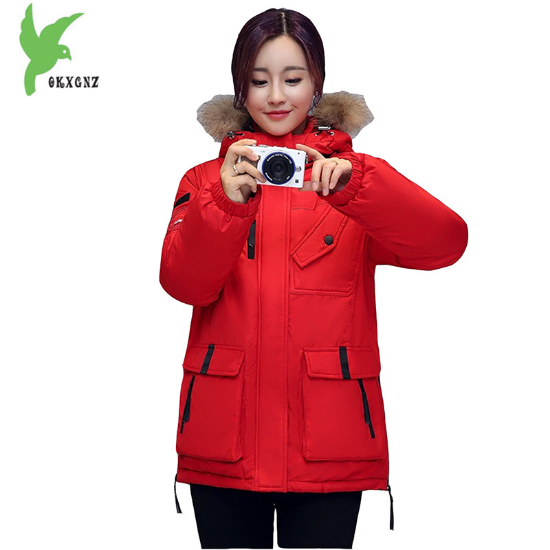 New Women Winter Down Cotton Jacket Hooded Fur collar Fashion Casual Coat Plus Size Thick Warm Boutique Slim Outerwear OKXGNZ835 new winter women cotton jackets solid color hooded long coat plus size fur collar thicker warm slim casual outerwear okxgnz a795