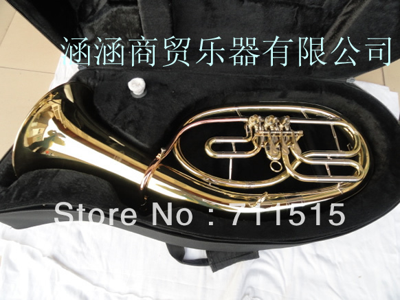 Golden Plated 3 Flat Key Bb Euphonium Horn Bass French Horn Brass Wind Instrument with Mouthpiece and Nylon Case