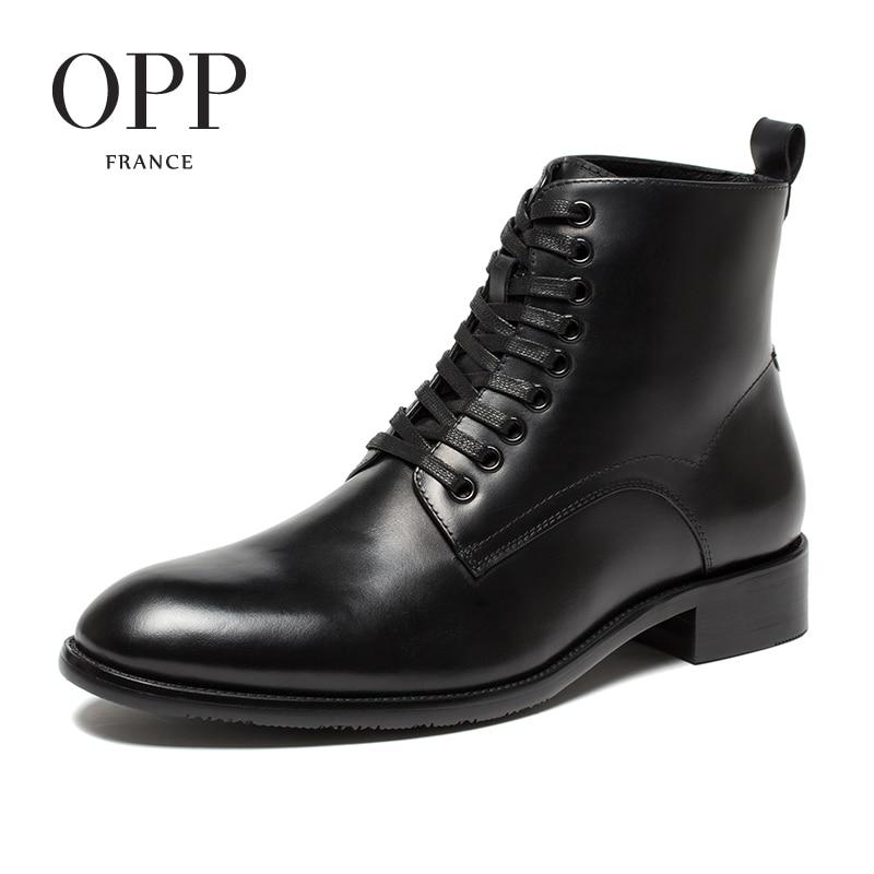 OPP Nouveau Classique Hommes bottes 2017 Cuir Véritable Hommes Chaussures hiver Bottes hommes Chaussures Cheville Bottes pour hommes High Top bottes