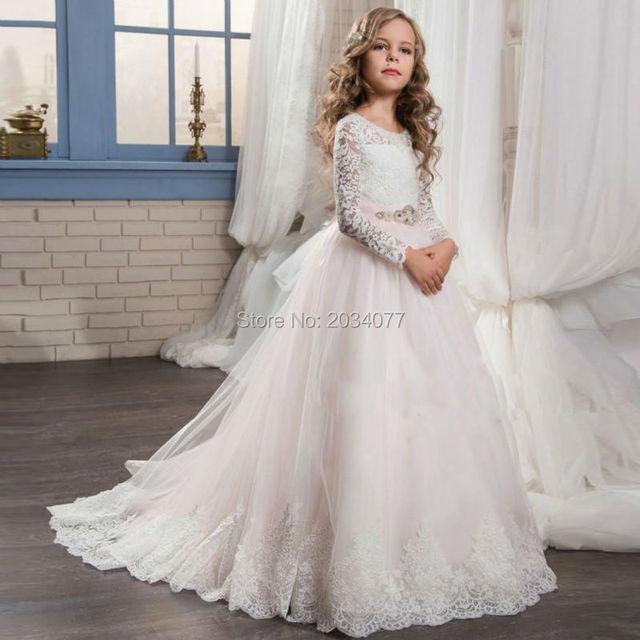 17d2540544 Suknie ślubne Flower Girl Różowy Sash Koronka Matka Córka Suknie Komunii  Świętej Sukienki Z Długim Rękawem