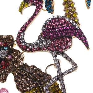 Image 5 - الملونة كريستال حجر الراين الزهور فلامنغو المختنق قلادة للنساء بيان كبير طوق قلادة مجوهرات الإناث