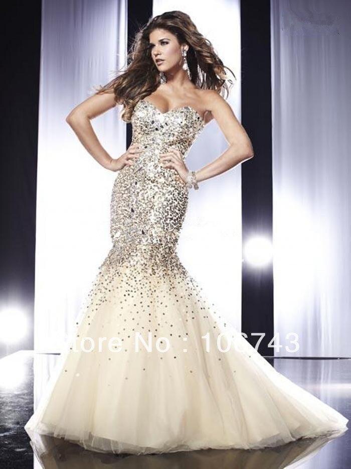 Livraison gratuite 2013 robe de soirée domestique de jeunes mariées robes , plus la taille sexy strass de luxe en cristal de paillettes longue sirène robes de bal - 2