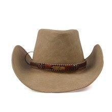 Кожаная мужская и женская ковбойская шляпа в стиле вестерн для леди, папы, федоры, сомбреро, мужские кепки, размер 58-см 59 см