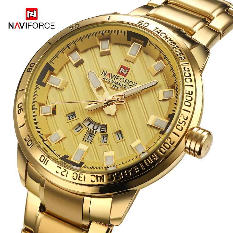 NAVIFORCE Gold Watch Men Watches Top Brand Luxury Military Wristwatch Male Clock Sport Quartz Wrist Watches Relogio Masculino