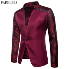 Paisley Floral One Button Blazer Jacket Men 2018 Brand Ragla