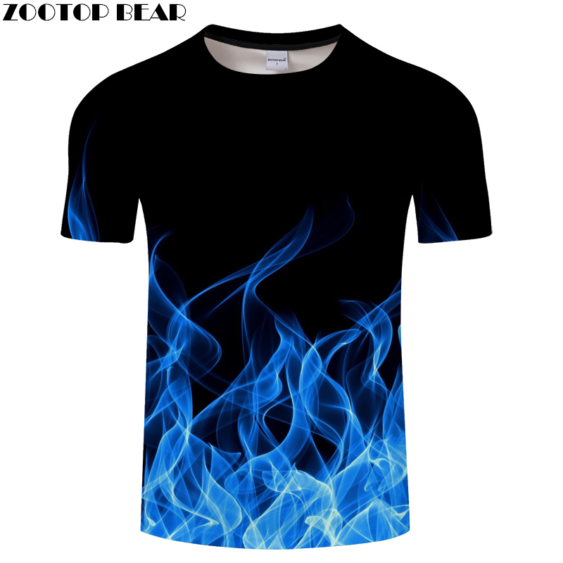 Blue Flaming tshirt Men   t     shirt   3d   t  -  shirt   Black Tee Casual Top Anime Camiseta Streatwear Short Sleeve Cloth DropShip ZOOTOPBEAR