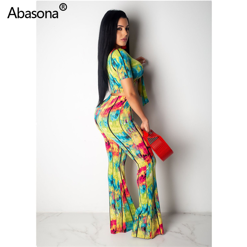 <font><b>2019</b></font> Tie Dye Galaxy Printed Short Regular Sleeve Tie Up Crop Top Wide Leg Full Length Loose Pants Two Piece Set <font><b>Sexy</b></font> <font><b>Outfit</b></font> image