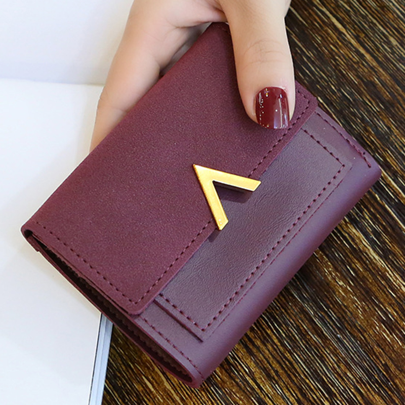 Woman Short Wallet 2019 Leather Female Card Hasp Holder Small Woman Wallet Coin Purse Credit Card Holder Money Clutch Portal