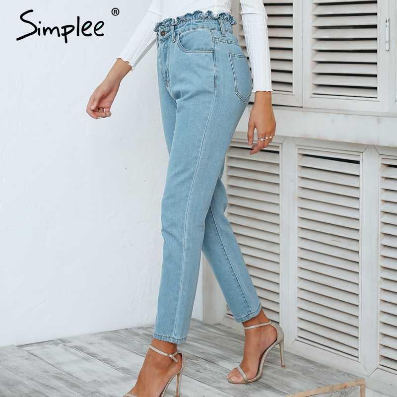 3e5c6d502 Simplee falda arriba Pantalones vaqueros de cintura alta Mujer luz azul  casual mujeres pantalones jeans 2018 Otoño e Invierno Vaqueros skinny Mujer
