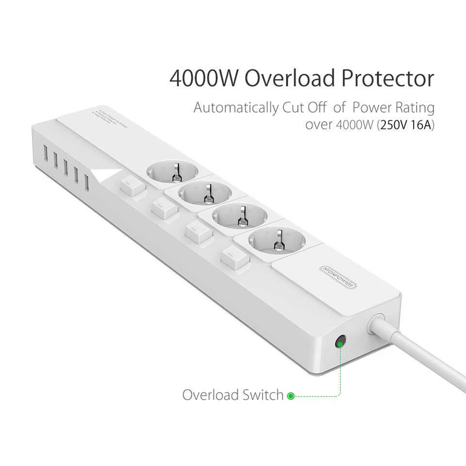 NTONPOWER filtr sieciowy-4000 W inteligentne listwy zasilającej wielu ue podłącz 5 wyjście USB się z takim rozszerzeniem gniazda, zabezpieczenie przeciwprzepięciowe z przełącznikiem