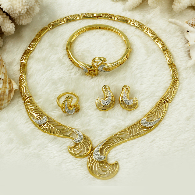 2018 Fashion Dubai Women Crystal Necklace Hook Design African Gold