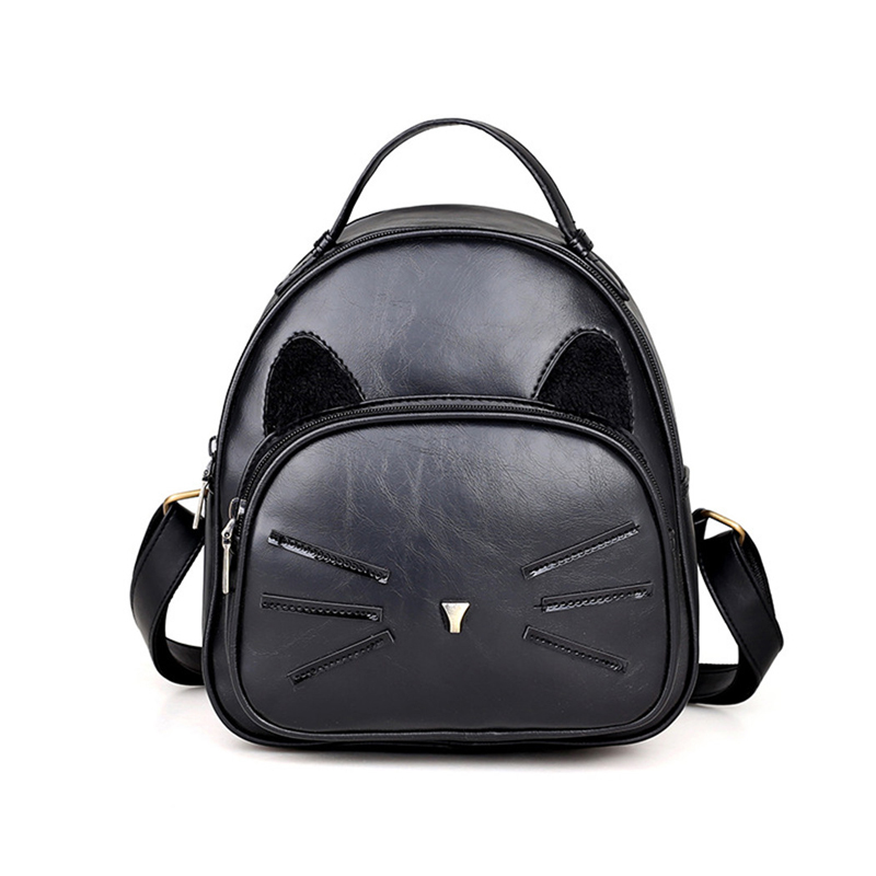 coofit Casual Girls Mini Backpack Cute Cartoon Cat Printing Backpack PU Leather School Backpack Travel Backpack For Zaino Donna