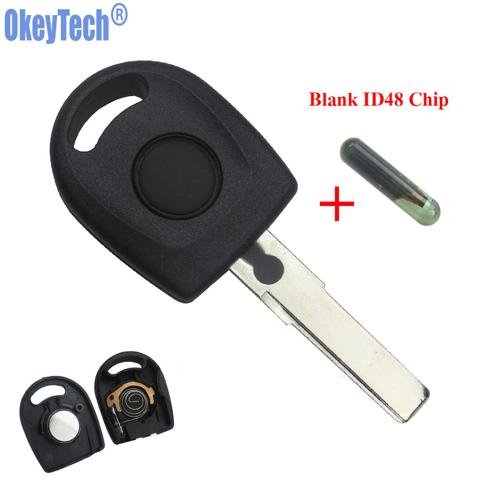 OkeyTech Transponder Key Shell ID48 Chip For VW Polo Golf for SEAT Ibiza Leon for SKODA Octavia Transponder with Light & Battery