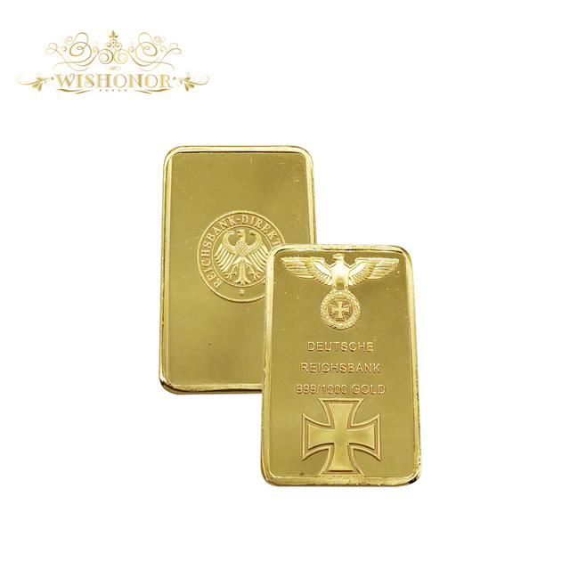 Online Shop Business Gift For 999 Real Gold Bar Deutsche Reichsbank German Iron Ingot OZ Eagle Cross Collectable