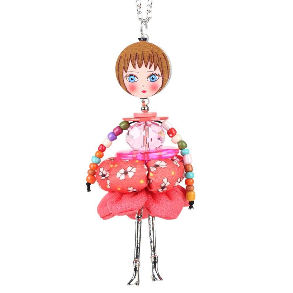 Bonsny Кукольное ожерелье платье ручной работы кулон в виде Парижской куклы мода 2015 Новости сплава девочка Для женщин цветок Модные украшения Аксессуары