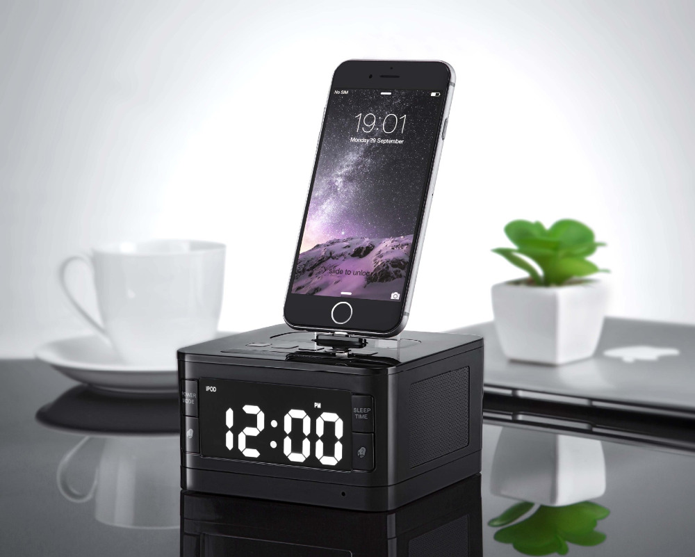 T7 8 Pin Charger Dock Station Fm Radio Alarm Clock Portable Audio Music Wireless Bluetooth Speaker for iPhone 8 8 Plus X 7 6S 6 t15b 5w 15w audio wireless bluetooth fm transmitter broadcast radio station 87 108mhz power supply for car gold silver