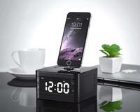 T7 8 Pin Trạm Dock Sạc Fm Radio Alarm Clock Âm Thanh Di Động âm nhạc Không Dây Bluetooth Loa cho iPhone 8 8 Cộng Với X 7 6 S 6