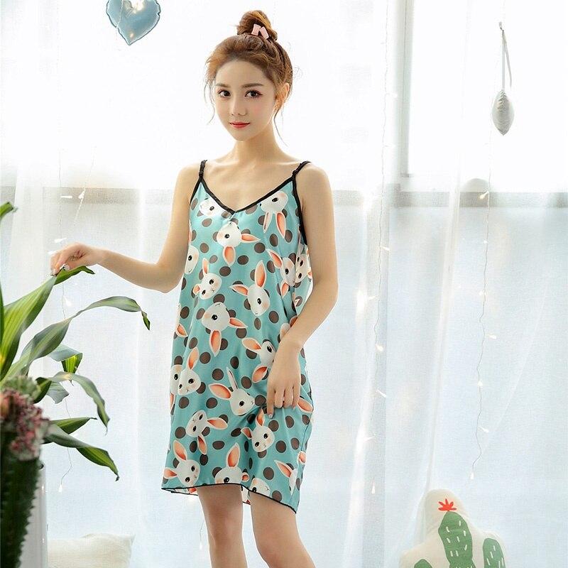 Women Bralette Fashion Cartoon Pattern Printed   Sleepshirt   Nightdress New Womens Sleeveless Sleep Dress