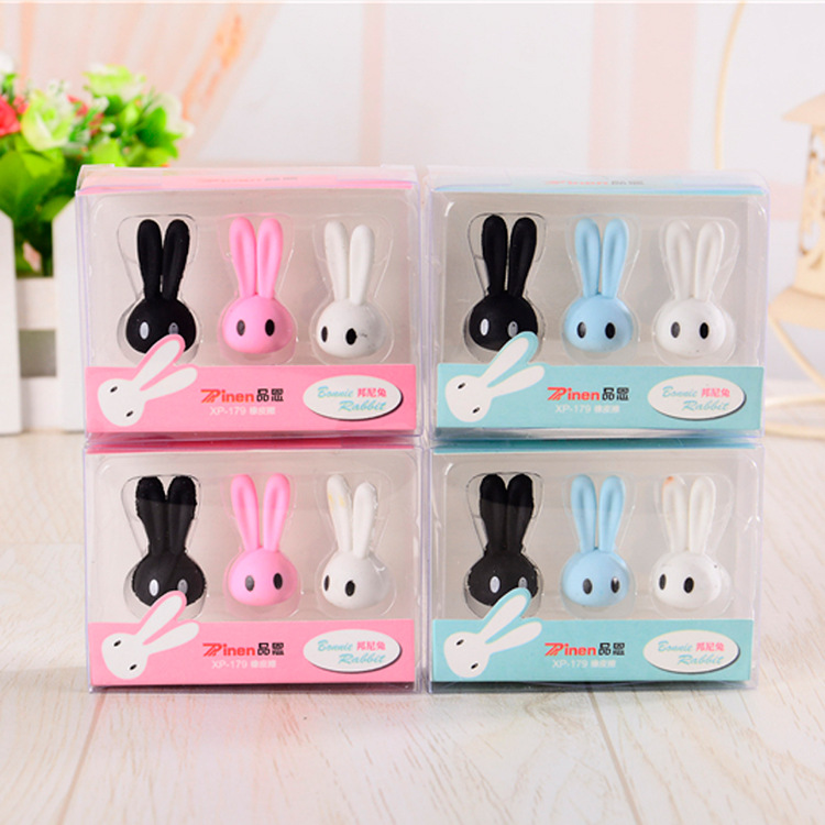 3 Pcs/pack Cartoon Rabbit Erasers Cute Unicorn Writing Drawing Rubber Pencil Eraser Stationery For Kids Gifts School Supplies