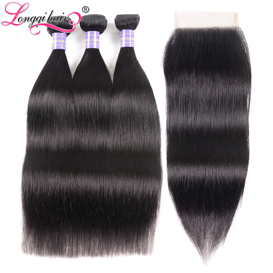 Longqi Hair Brazilian Straight Hair Bundles With Closure 4x4 Free Part Closure with Bundles Remy Human