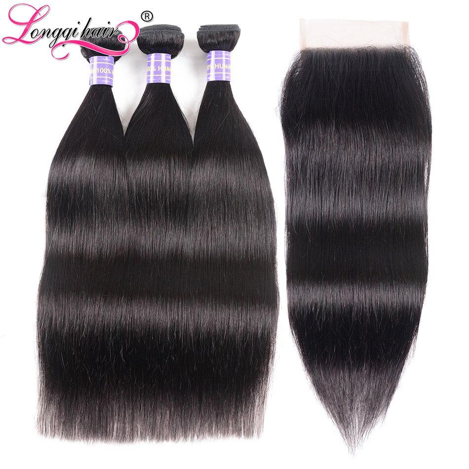Longqi włosów brazylijski pasma prostych włosów z zamknięcie 4x4 część darmowe zamknięcie z wiązki Remy człowieka wiązki włosów z zamknięciem w 3/4 pasma z siateczką od Przedłużanie włosów i peruki na AliExpress - 11.11_Double 11Singles' Day 1