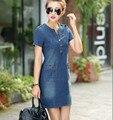 Лето 2016 Корейский джинсовая женский платье с короткими рукавами свободные большой размер v-образным вырезом тонкий платье для женщин плюс размер 176A 45
