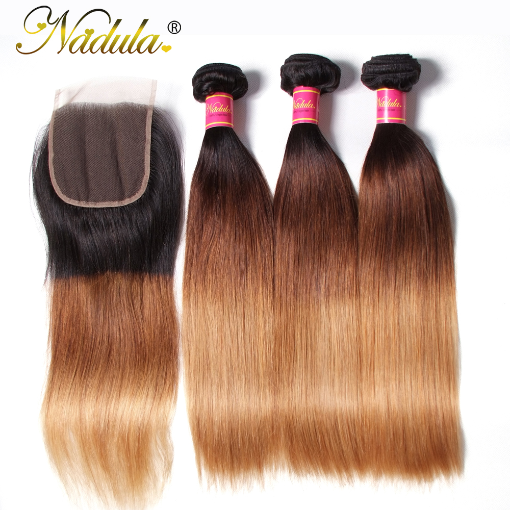 Nadula Hair With Closure Brazilian Straight Hair Ombre Bundles With 4 4 Free Part Lace Closure