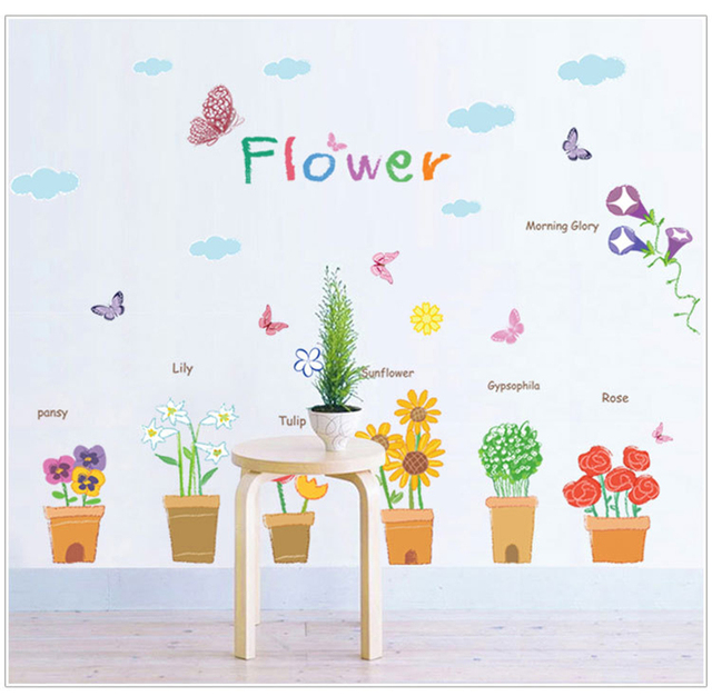 Nice plants flowers potting window glass wall stickers for kindergarten cute cartoon children vinyls kids rooms