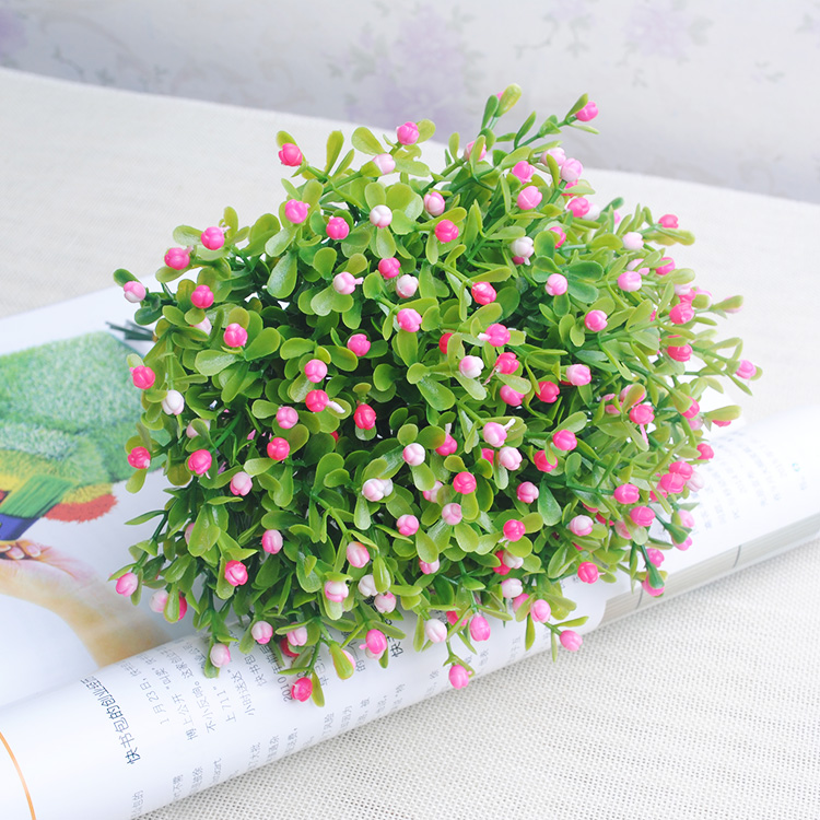 Short five grain Milan Milan 4 color options simulation flowers and plastic flowers grass green artificial flowers white